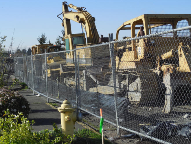 Fencing to protect construction equipment on job site